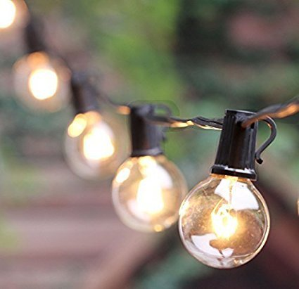 50Ft G40 Globe String Lights with 50 Clear Bulbs for Indoor/Outdoor Commercial Decor, Outdoor String Lights Perfect for Patio Backyard Porch Garden Pergola Market Cafe Bbq Umbrella Tents Decks, Black