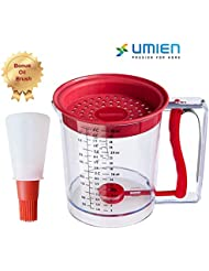 Four Cup Fat Separator with Bottom Release is a Batter Dispenser and Measuring Cup with Bonus 2 Ounce Silicone Oil Brush Cooking Set