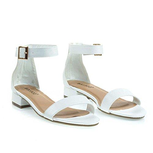 Sandalo Basso Grosso Blocco Grosso Open Toe Vestito Sandalo Con Tallone Bianco