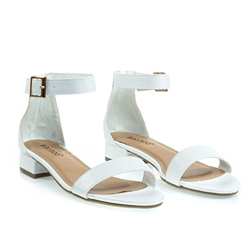 Counter Open Bamboo Heel Sandal Toe Low Block Dress Heel White w Chunky r4vg64