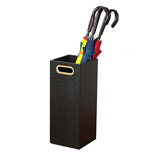 (Leather Entryway Freestanding Umbrella Holder Rack Organizer Umbrella Bucket (Color : Black))