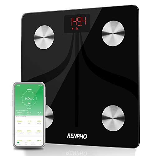 (RENPHO Bluetooth Body Fat Scale USB Rechargeable Smart Digital Bathroom Weight Scale with Smartphone App Wireless BMI Scale Body Fat Monitors, 396 lbs)