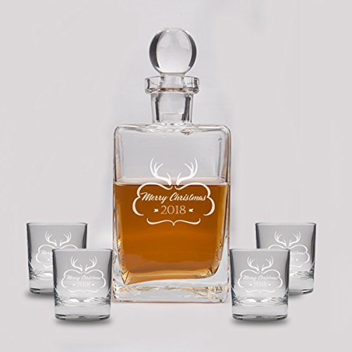 Personalized Holiday Whiskey Decanter Set 23.75 oz- Customized 5 Pieces Glass Laser Engraved Scotch Set - Christmas Bourbon Decanter and 4 Glasses - Valentine's Day Gift for Classy Gentleman (D&g Women Sweaters)