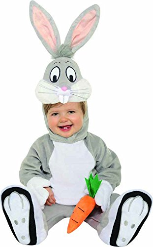 [Looney Tunes Bugs Bunny Romper Costume, Gray, 12-18 Months] (Bugs Bunny Costumes For Child)