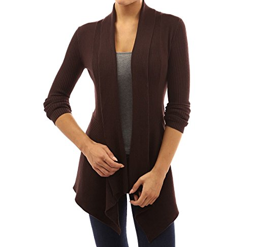 Women' Cardigan Sweaters Cascading Sweatshirt Casual Blouse by Azot (L, Dark Brown)