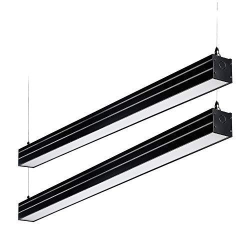 (LEONLITE 4ft 0-10V Dimmable LED Linear Light, 4600lm Linkable Suspension Lighting Fixture, 40W (230W Eq.), UL & DLC, 4000K Cool White, for Office, Market, Garage, 5 Years Warranty, Pack of 2 - Black)