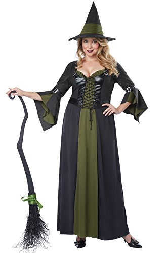 [California Costumes Women's Plus-Size Classic Witch Long Dress Plus, Black/Green, XX-Large] (Classic Black Witch Costumes)