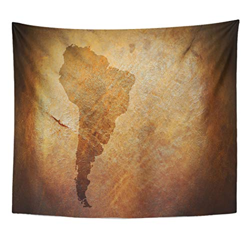 (Emvency Decor Wall Tapestry Tan Old Water Stain Mark in The Shape of South America Continent Map on Vintage Brown Parchment Brazil Wall Hanging Picnic for Bedroom Living Room Dorm 60x50 Inches)