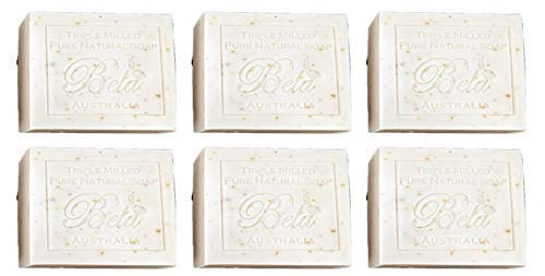 Bela Pure Natural Soaps Triple Milled Moisturizing Natural Soap Bars, Sulfate Free – Oatmeal, Milk & Bran - Made in Australia - Perfect Mothers Day, Anniversary, or Birthday Gift -6 pack -3.5 oz each