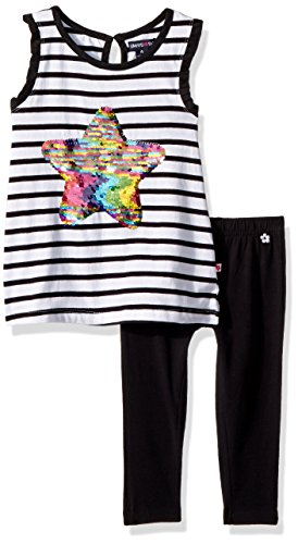 (Limited Too Girls' Little Fashion Top and Legging Set, Stripes with Sequin Star Multi Print, 6)