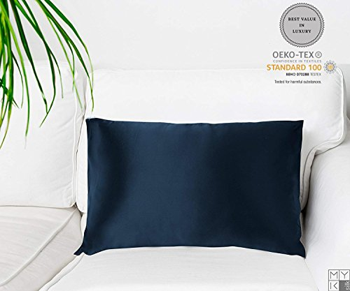 Compare Price Navy Blue Satin Pillowcase On