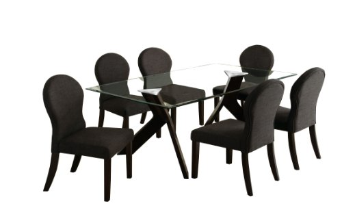 Furniture of America Humphry 7-Piece Dining Table Set with 10mm Tempered Glass Top, Espresso Finish