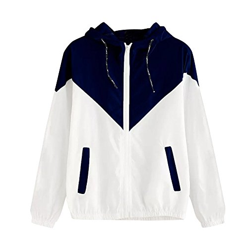 FONMA Women Long Sleeve Top Patchwork Thin Hoodie Hooded Zipper Casual Sport Coat Navy (Designing A Logo With The Logo Creator)