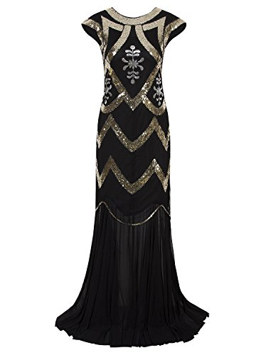 Vijiv Women's 1920s Beaded Flapper Dress Sequin Maxi Formal Wedding Evening Gown, X-Large, Black Gold (Gowns Formal Vintage)