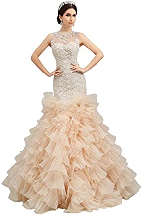 Vimans long luxury layered puffy gowns for bridal wedding for Amazon cheap wedding dresses
