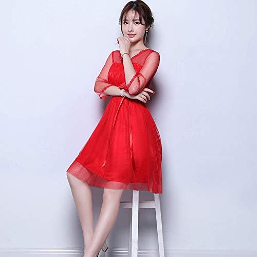 44b008f28ee2 Dazisen Per Vestito Rosso D onore 5 Da Festa Elegante Damigella Abito Sera  DonnaFormale Stili 5 ...