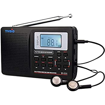 TIVDIO V111 Portable Radio AM/FM/Shortwave Transistor Radio DSP AA Battery Powered with Digital Alarm Clock Sleep Timer(Black)