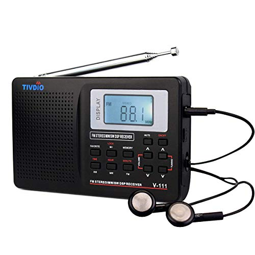 TIVDIO V111 Portable Radio AM FM Shortwave Transistor Radio DSP AA Battery Powered with Digital Alarm Clock Sleep Timer with Earphones(Black)