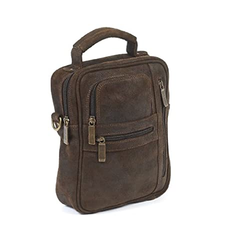 Claire Chase Medium Man Bag, Distressed Brown, One Size - Claire Chase Leather Messenger