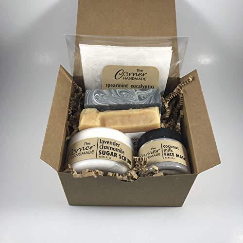 (Sugar Scrub Gift Set for Women, Spa Gift Basket, Hand-made Present, Bath Kit, Artisan Beauty Box)