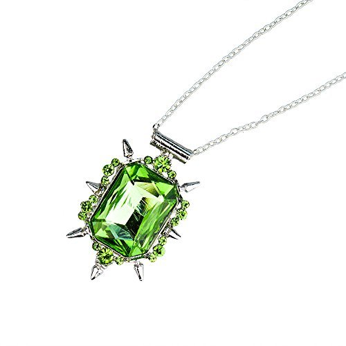 Green Crystal Pendant Necklace - Once Upon a Time the Wicked Witch of the West Zelena Amulet - Silver Tone Chain & Green Stone Charm by Boiling Glacier ()