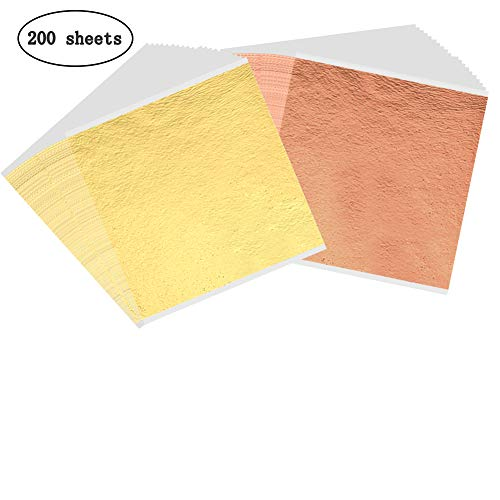 200 Sheets Imitation Gold Leaf Sheet Foil Paper for Gilding Paint, Arts, Crafting, Decoration, Slime, Makeup, 5.5 by 5.5 Inches-Gold and Rose - Leaf Gold Imitation