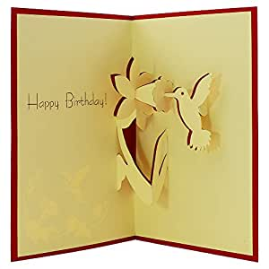 Hummingbird, 3D Popup Greeting Cards, Funny Birthday Cards, Thank You Cards, Congratulations Card, Kids Birthday Cards (Red)