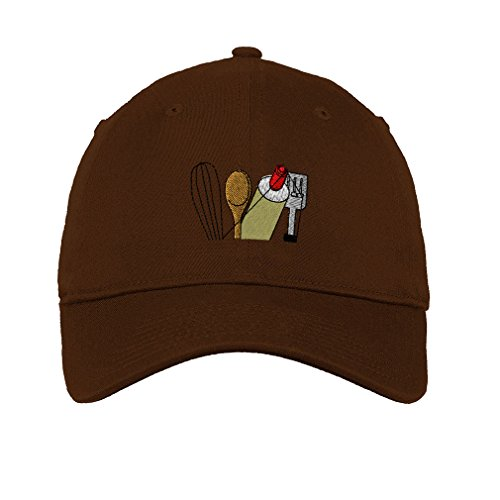 Speedy Pros Chef Cooking Topper Utensils Embroidery Unisex Adult Flat Solid Buckle Cotton 6 Panel Low Profile Hat Cap - Brown, One Size