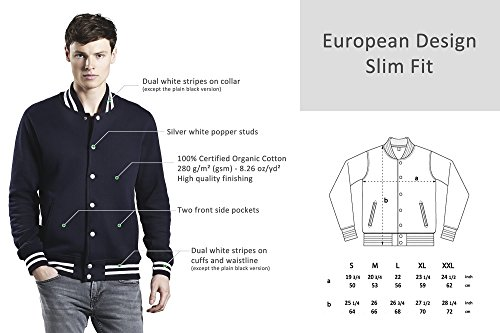 Underhood of London Varsity Jacket for Men | 100% Premium Organic Cotton Lightweight Unisex Jacket