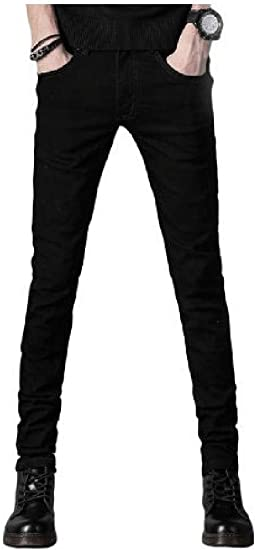 Nicellyer Mens Thickened Fleece Bodycon Pure Color With Pocket Washed Warm Jean Pant