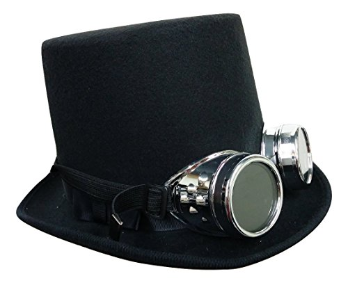 Steampunk Black Deluxe Bell Topper Top Hat With Silver Goggles Costume Accessory