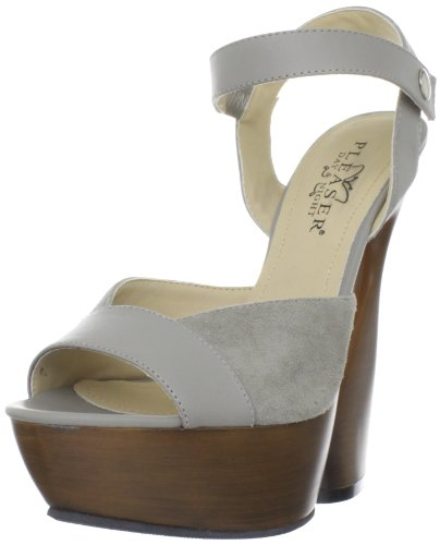 Taupe Kid Leather (Pleaser Women's Swan-612/TPLE-S Ankle-Strap Sandal,Taupe Kid Leather Suede,5 M US)