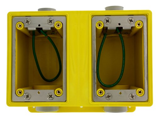 Leviton FDBX2-Y FD Box, Two-Gang, 67.3 Cubic Inch Capacity, 1-Inch NPT Openings, Includes Plugs and Stainless Steel Mounting Plates, Yellow by Leviton (Image #1)