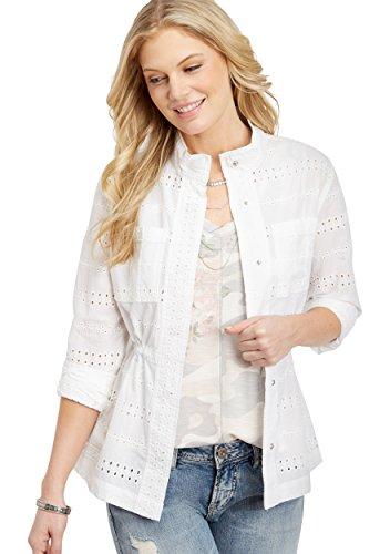 White Eyelet Jacket (maurices Women's Eyelet Jacket With Cinch Waist Medium White)