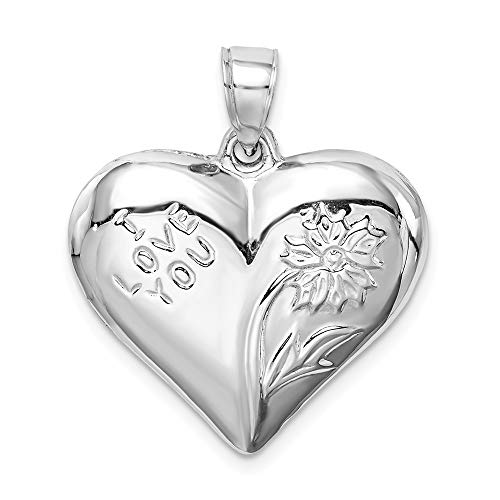 (925 Sterling Silver Floral Heart Pendant Charm Necklace Love Puffed Fine Jewelry Gifts For Women For Her)