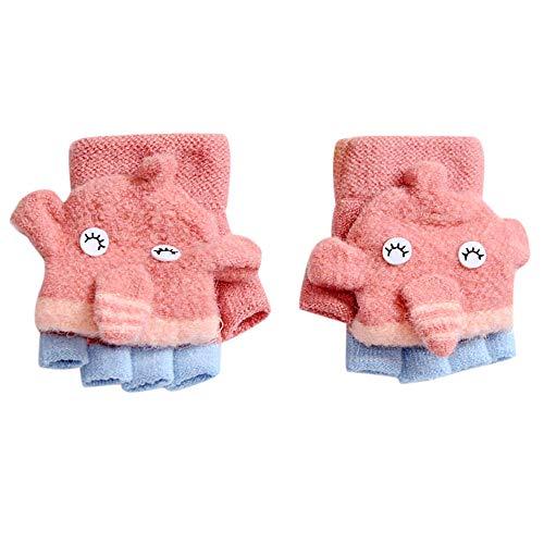 Hunagou Toddler Baby Boys Girls Gloves Cute Cartoon Bear Kids Winter Gloves Warm Convertible Flip Top Mittens Cover 2-5 Years (2-5 Years, Hot Pink)