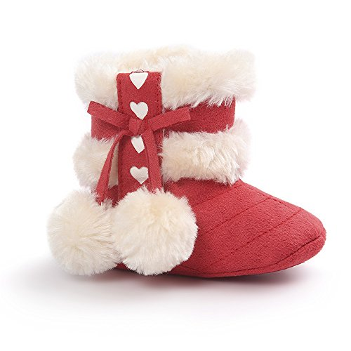 Baby Girls Winter Snow Boots with Bowknot (Red) - 2