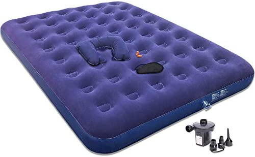 Gift Queen Air Mattress with Electric Pump -Portable Blow Up Mattress for Camping to Gifting Eye Mask Pillow Ear Plugs -Durable Inflatable Air Bed -Gifts for Men Women Her Him