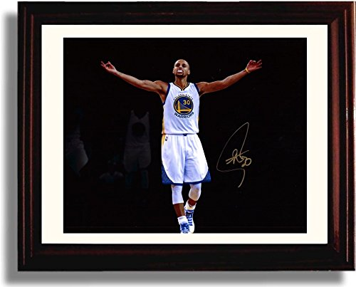 Framed Stephen Curry Spotlight Autograph Replica Print - Golden State Warriors