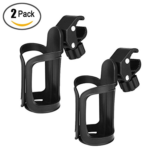 2 Pack Bike Cup Holder Stroller Bottle Holders Universal 360 Degrees Rotation Antislip Drink Bottle Cup Holder for Bicycle Wheelchair Baby Pushchair Motorcycle by QBABY