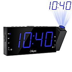 OnLyee Projection Alarm Clock with AM FM Radio, 7 LED Digital Ceiling Display, Sleep Timer, 180°Projector, Desk/Shelf Clock with Dimmer, USB Charging, AC Powered and Battery Backup for Bedroom
