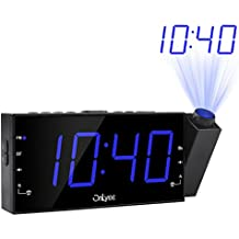 """OnLyee AM FM Radio Alarm Clock, Projection Ceiling Wall Clock, 7"""" LED Digital Desk/Shelf Clock with Dimmer, USB Charging, AC Powered and Battery Backup for Bedroom, Kitchen, Kids"""