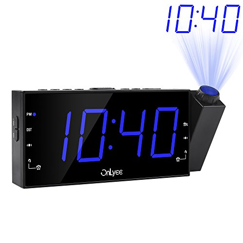 "- OnLyee AM FM Radio Alarm Clock, Projection Ceiling Wall Clock, 7"" LED Digital Desk/Shelf Clock with Dimmer, USB Charging, AC Powered and Battery Backup for Bedroom, Kitchen, Kids"