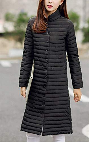 Schwarz Botón Parka Manga Unicolor Outerwear Anchos Elegante Modernas Pluma Larga Invierno Abrigo Cuello Cómodo Stand Mujer PtqAw4Z