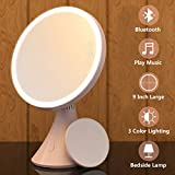 Babyltrl 9 Inch Lighted Makeup Mirror Rechargeable, Touch Screen 1x/5x Magnifying Vanity Mirror with Built-in Bluetooth Speaker, 3 Lighting Modes Dimmable Tabletop Makeup Mirror (Sakura Pink)