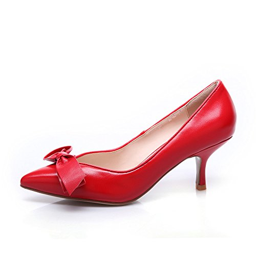 Nueve siete piel auténtica de las mujeres señaló Toe Stiletto talón Mid pajarita Talón Bomba de hecho a mano Red