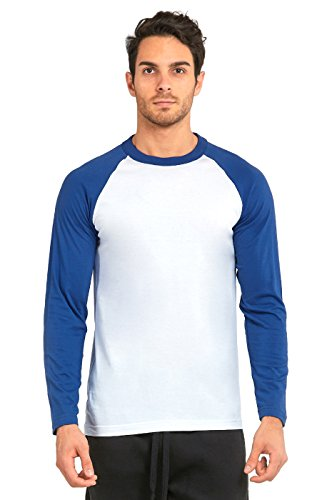 TOP PRO Men's Full Sleeve Casual Raglan Jersey Baseball Tee Shirt (L, RBL/WHT)