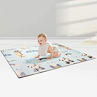 "AISIMEE Extra Large Thick Baby Play Mat,Foldable Playmats,Reversible Waterproof Non-Slip Foam Crawling Mat,Portable Play mat for Babies, Infants, Toddlers,Kids Indoor Outdoor Use 78.7"" x 70"" x 0.6"""