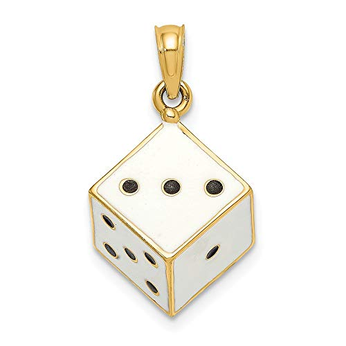 14k Yellow Gold 3 D Enamel Dice Pendant Charm Necklace Gambling Fine Jewelry Gifts For Women For Her