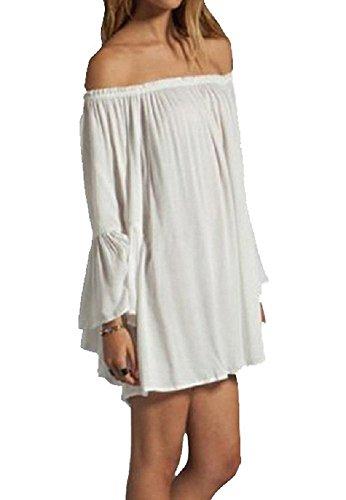 Blusa de Moda 2017 - BienBien Chiffon Camisetas Mujer Verano de Manga Larga Cuello Ancho Fuera de Hombro Kaftan Túnica da Playa Casual Mini Vestido blanco